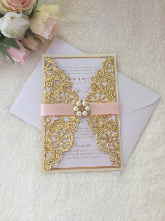 Metallic doilies wedding invitation, pink and gold doily wedding invitation…