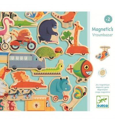 Kolorowa, drewniana układanka z magnesami przedstawiająca pojazdy i zwierzątka. Zestaw zawiera 24 elementy. Z łatwością można je układać na