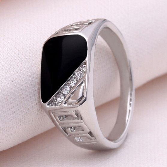 Rings  Size 7-12 Fashion  Men Jewelry Silver Plated Punk Titanium Steel Gem Ring Vintage Black Enamel Rings For Men sa782