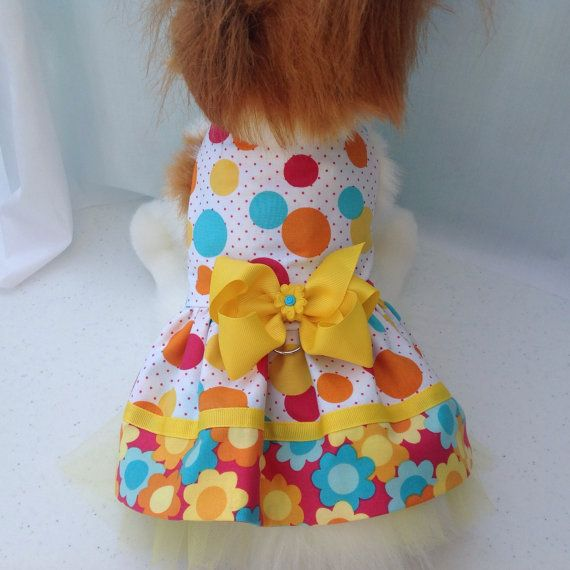 Polka Dot and Flower Power Adorable Dog Dress by princessamee
