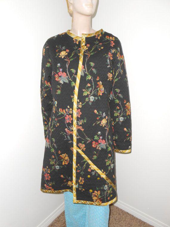 Oriental Look Coat/Jacket Black/Floral Tapestry Coat  by jobella