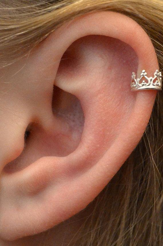 Krone-Ohr-Stulpe – durchbohrt Ohr Wrap – Helix Ohrstulpe – nicht – knorpelohrring – Spirale Ohrring – Fake Piercing – Gold Ohr Manschette – Ohrschmuck