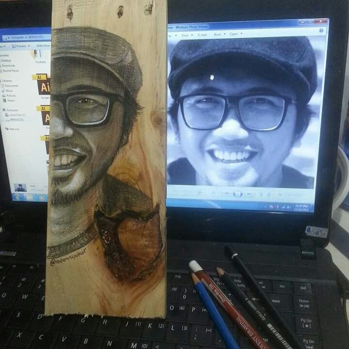 "My half face ""Pencils on wood pallet"""