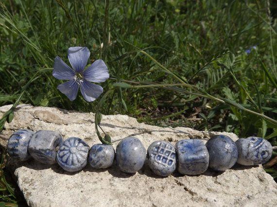 9 Ceramic beads blue bead raku by BlueBirdyDesign on Etsy