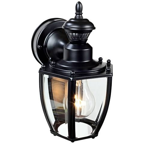 Coach Black 10 3 4 H Motion Sensing Outdoor Wall Light 1x268 Lamps Plus Outdoor Wall Lighting Motion Sensor Lights Outdoor Outdoor Wall Lantern