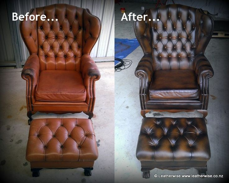 Recolouring and antiquing of deep-buttoned leather wingback chair and matching footstool.