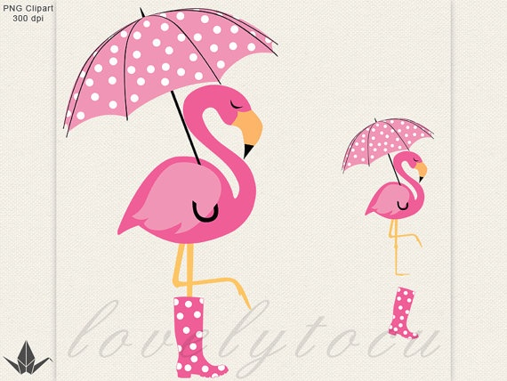 Flamingo Umbrella Clipart Pink In The Rain