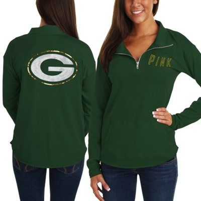 Victoria's Secret PINK Green Bay Packers Ladies Quarter-Zip Pullover Long Sleeve Top - Green