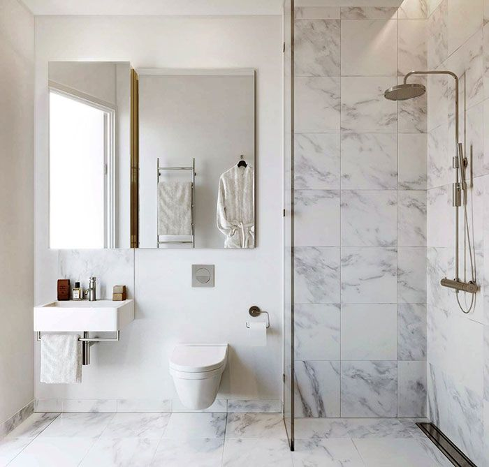 Fabulous Bathroom In Modern Design With Marble White For Shower Space With  Glass And White Sanitaryware Also Sink