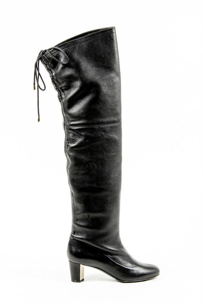 Vionnet Paris Women's Leather Over Knee High Boots BLACK #VionnetParis #OverKneeBoots #Clubwear