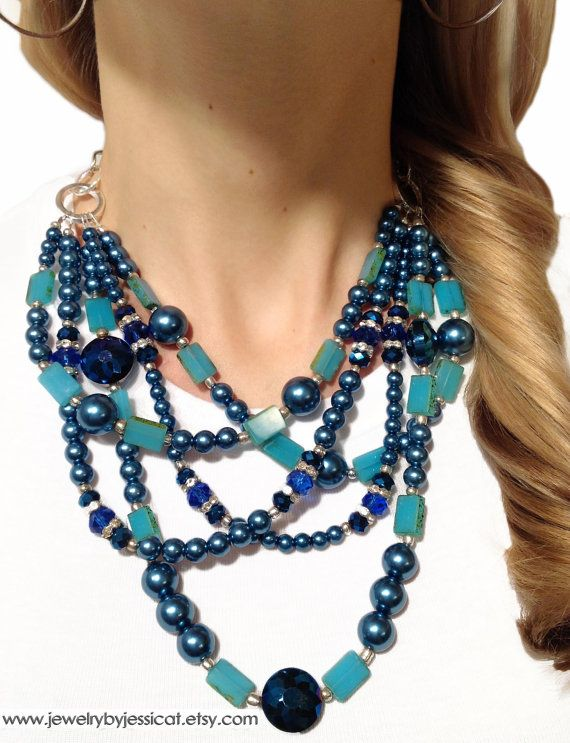 Beautiful BLUES! Bright enough to be worn yet this Summer, and deep enough be loved throughout the Fall!    https://www.etsy.com/listing/89595904/classic-statement-necklace-blue-aqua