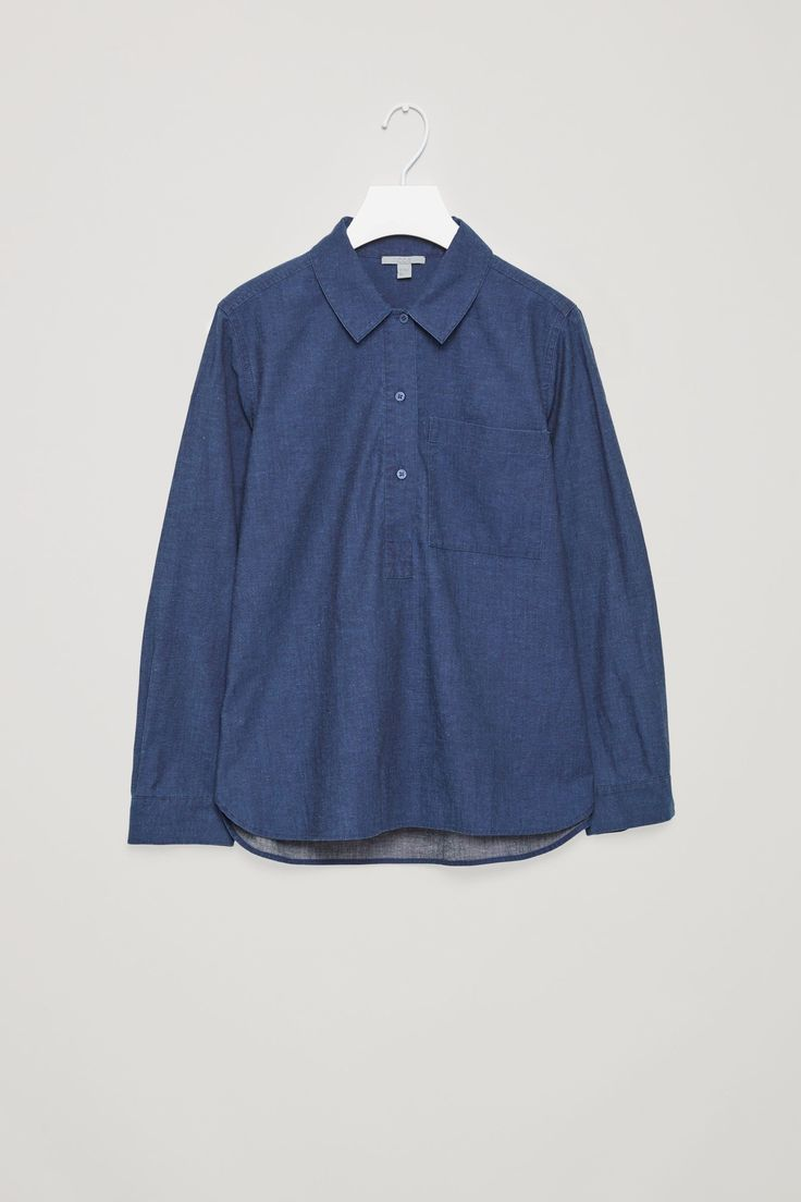 COS image 4 of Pull-over denim shirt  in Blue