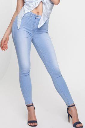 Jeans Skinny Vita Alta Blu Chiaro