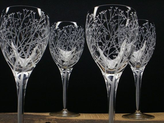 Four White Wine Glasses . 'Tree Of Love' . Hand Engraved . Wedding Party Gift . Shower Gift