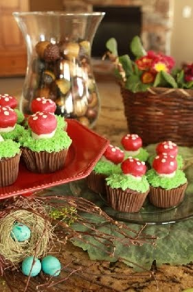 Mushroom Cup Cakes party idea
