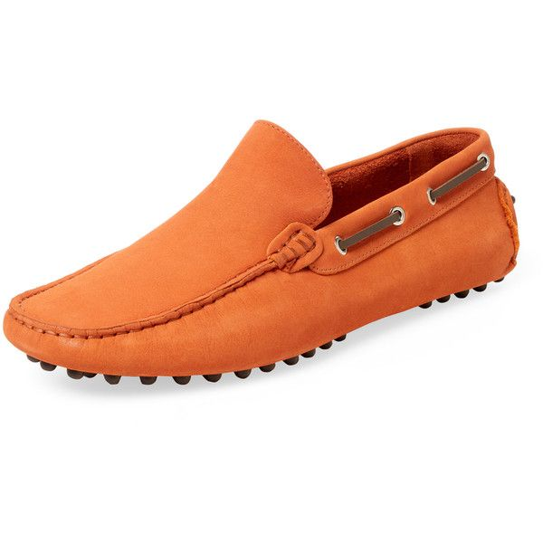 Millburn Co. Men's Venetian Driving Shoes - Orange, Size 7 ($65) ❤ liked on Polyvore featuring men's fashion, men's shoes, orange, mens driving shoes, mens orange shoes, mens leather shoes, mens shoes and mens driver shoes