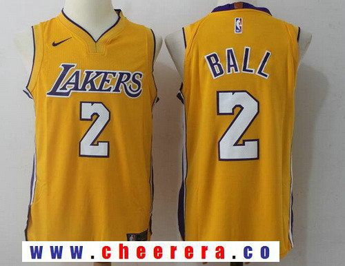 online store 85fd4 9585f Men's Los Angeles Lakers #2 Lonzo Ball New Yellow 2017-2018 ...