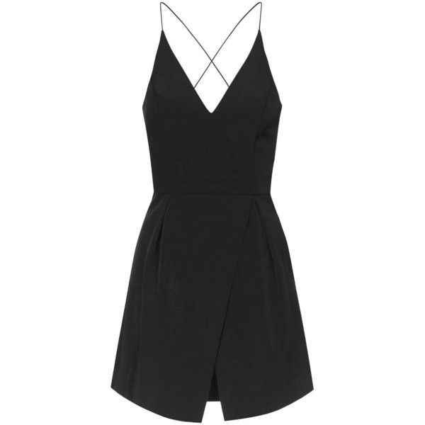 TopShop Strappy Bonded Mini Dress (£58) ❤ liked on Polyvore featuring dresses, topshop, black, jumpsuit, plunge neck dress, criss-cross dress, prom dresses, lbd dress and short prom dresses