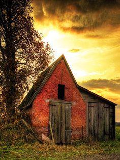 Barn At Sunset