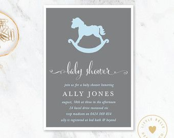 Boy Baby Shower Invitation / Rocking Horse by LittleBelleDesign