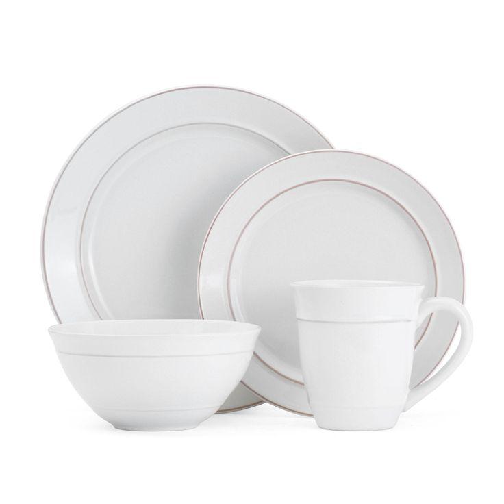 Mikasa Aubrey Solid White 16-piece Dinnerware Set | Overstock.com Shopping - The Best Deals on Casual Dinnerware