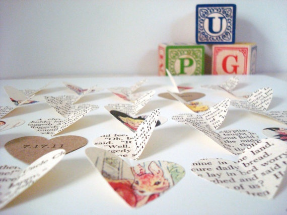 Personalized Baby Gift : Made From A VINTAGE BOOK. First Birthday Baptism Christening Boy Girl