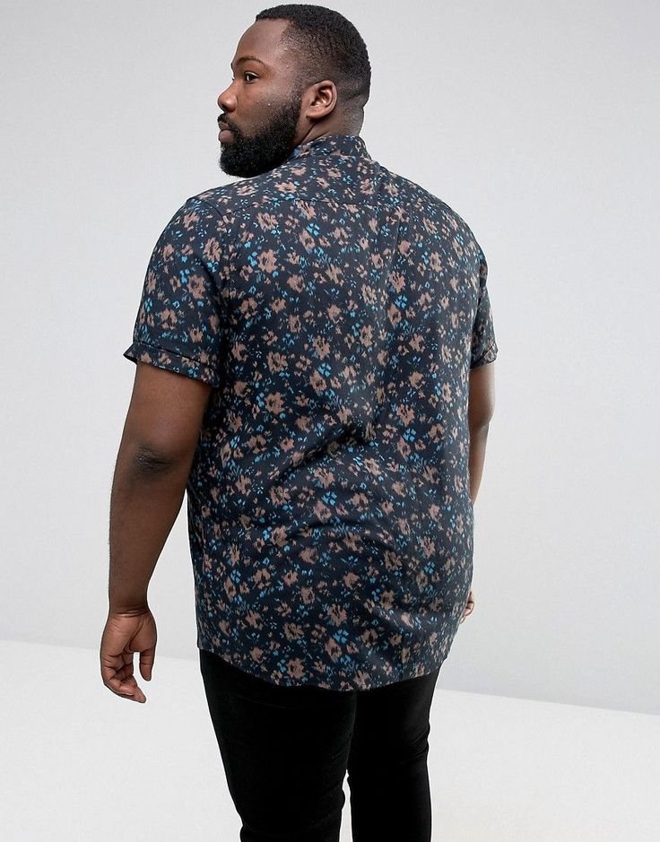 ASOS PLUS Regular Fit Blurred Floral Print Shirt - Black