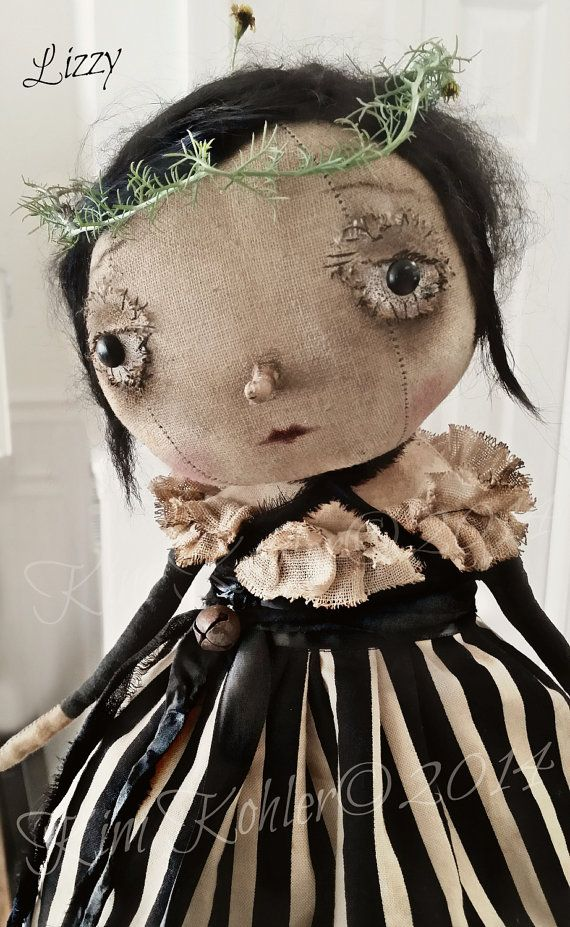 Prim Artist Doll Lizzy Primitive OOAK Fabric Cloth Standing Hand Made Goth Gothic Original OFG hafair