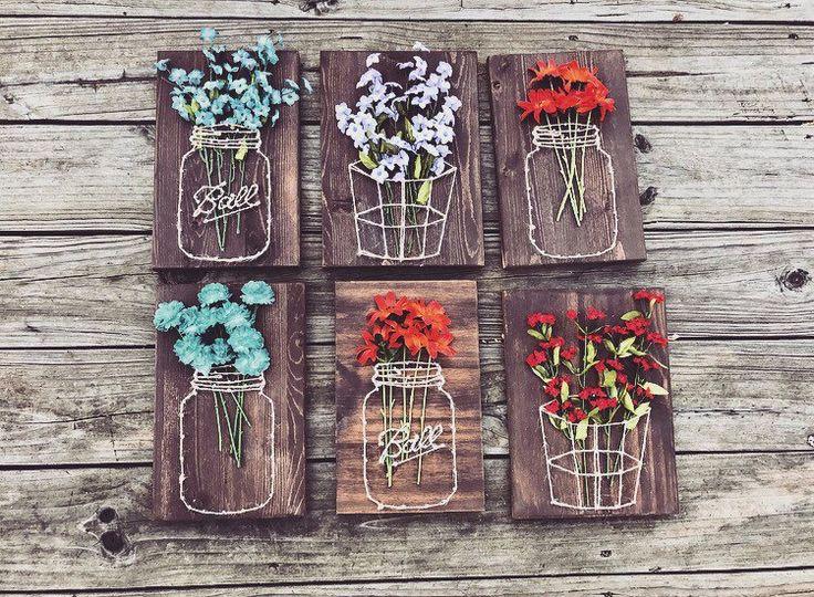 Mason Jar/Basket with Flowers String Art von Shop217Designs