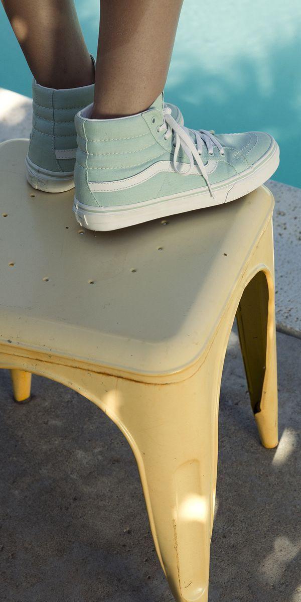 Fun and fresh! Shop Vans Sk8-Hi's in Mint and other new colors now.