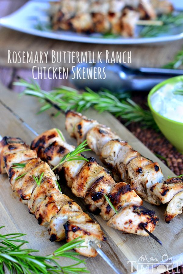 Crank up the heat on your grill and get ready to impress your family with these mouthwatering Rosemary Buttermilk Ranch Chicken Skewers!   MomOnTimeout.com   #recipe