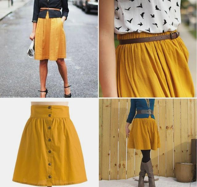 four square walls: a mustard skirt, to match my blog title font