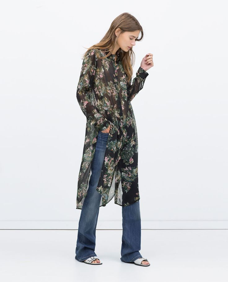 LONG FLORAL PRINT BLOUSE-Woman-NEW THIS WEEK   ZARA United States