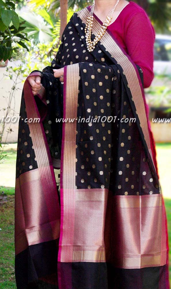 Gorgeous Woven Banarasi Silk Dupatta - SM | India1001.com
