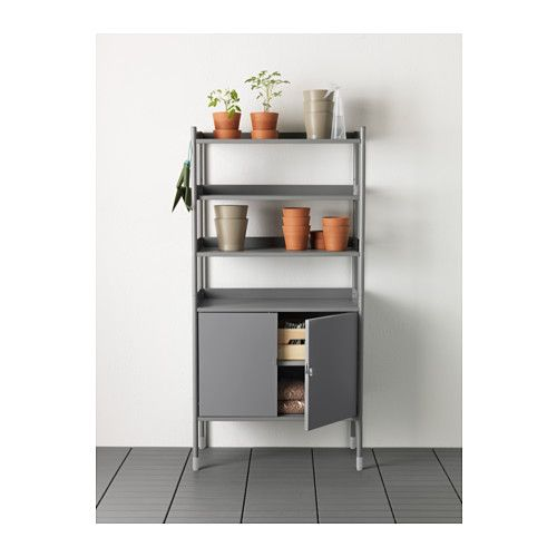 HINDÖ Shelving unit w/cabinet, in/outdoor  - IKEA Can always buy this or similar cabinet for extra-storage. Can figure out a way to make a little prettier $120 #outdoors