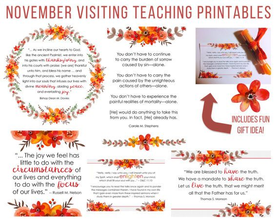 November 2016 Visiting Teaching Printable Handouts #ldsconf #ldsvistitingteaching #mormon https://www.etsy.com/listing/475669312/november-2016-visiting-teaching?ref=shop_home_active_1