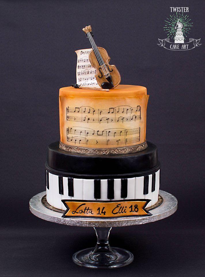 Musiikki kakku, violin, piano music themed cake
