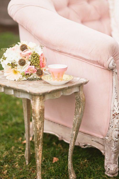 Blush sofa & florentine table