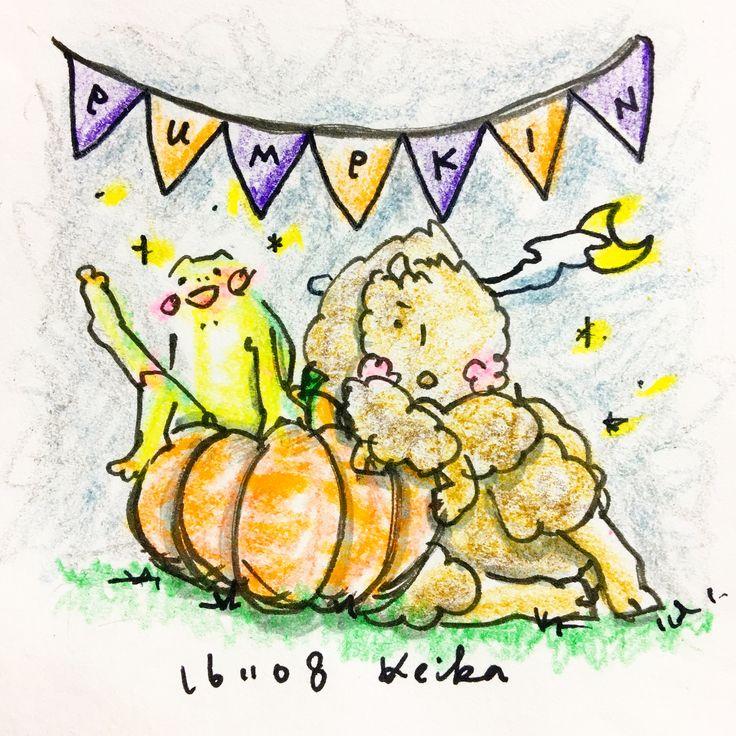 【Around midnight】ムスッコの離乳食。最近かぼちゃもあげるようになったのですが、ナニコレ!?みたいな可愛らしい反応は一切なく、淡々と食べ進めてます。#baby #frog #bison #animal #5months #5ヶ月 #かえる #バイソン #動物 #離乳食 #babyfood #おえかき #イラスト #pumpkin #かぼちゃ 余談だけど#また液晶割れた