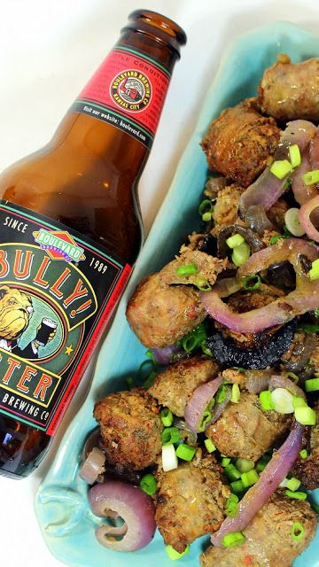Year on the Grill: Beer Braised Grilled Faux Meatball Brats - 52 Grilled Appetizers