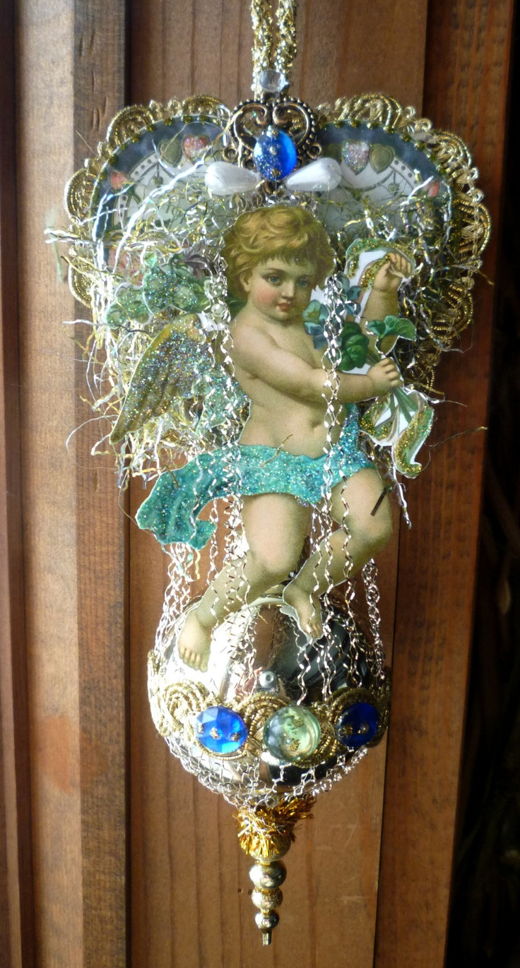 Victorian Scrap Cherub Valentine Ornament - Vintage Inspired. $17.00, via Etsy.