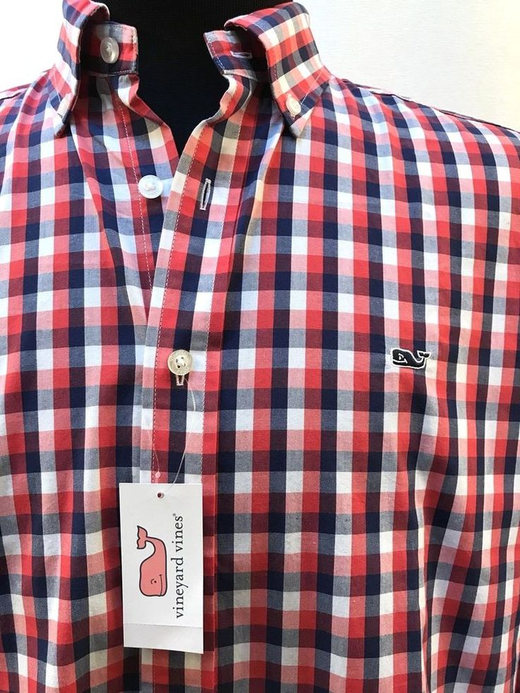 Vineyard Vines Whale Shirt Slim Fit Gingham Nauset Check Genoa L XXL New $115 #VineyardVines #ButtonFront