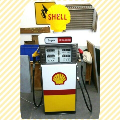 Restored Shell double bowser with cabinet in the base. #junked #junkedrestoration #shell #bowser #petrol