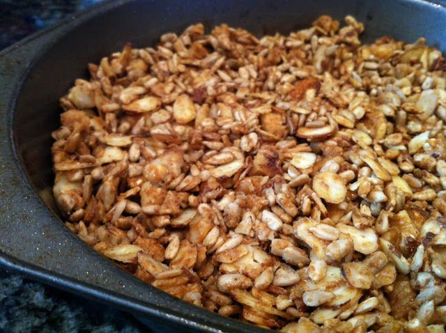 Paleo Cereal: bake at 350 for 15 minutes     1/2 cup slivered almonds     1/2 cup walnut pieces     1/2 cup unsalted sunflower seeds     1 tbsp sunbutter (or nutbutter of choice)     1 tbsp almond butter (or nutbutter of choice)     Drizzle with honey and cinnamon