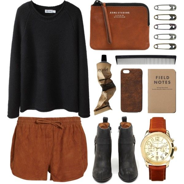 A fashion look from November 2013 featuring long sweaters, elastic waist shorts y high heel boots. Browse and shop related looks.