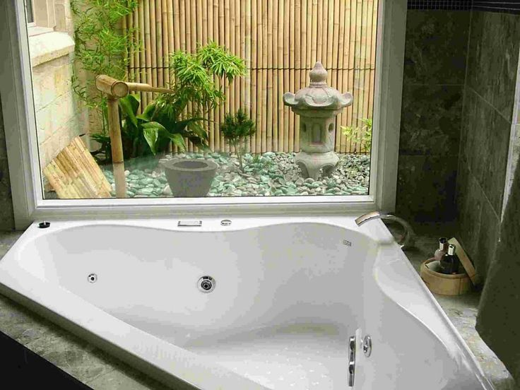 Chic Contemporary White Jacuzzi Bathtub Corner With Exotic Japanese Garden  View