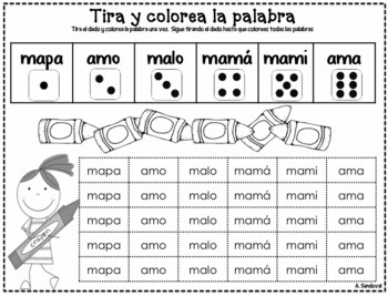 Roll and Color the Word in Spanish