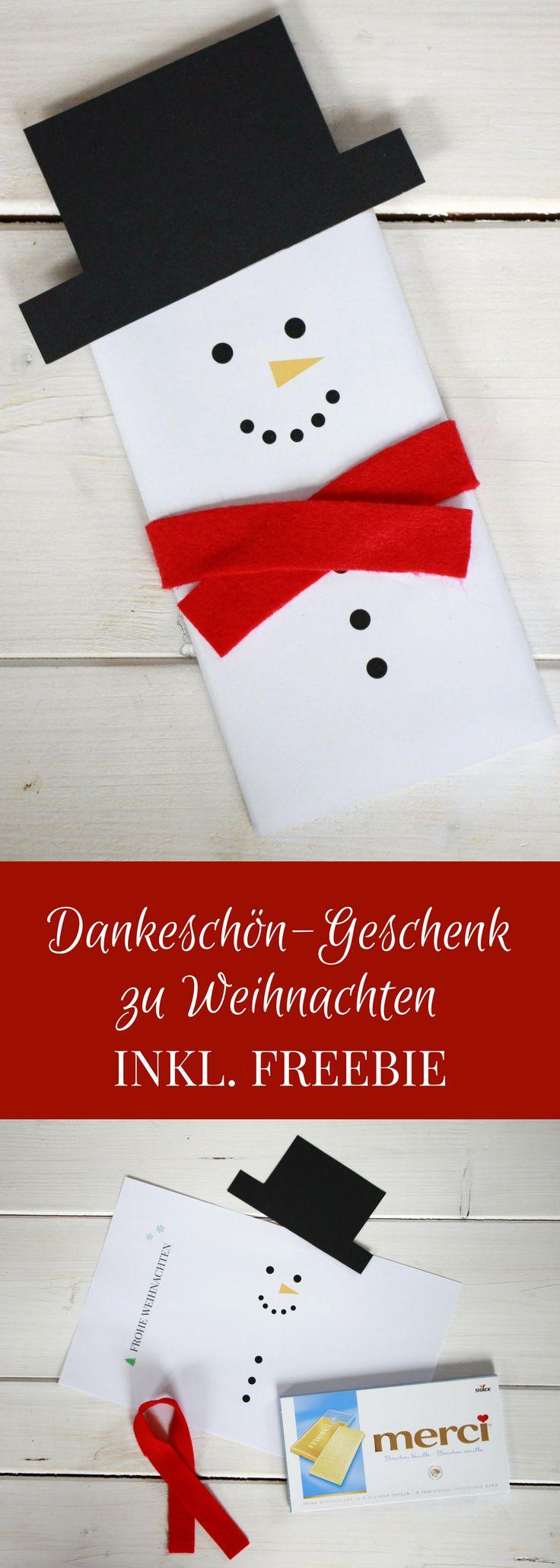Die Schneemann-Schokolade ist eine schnelle Dankeschön-Geschenk Idee zu Weihnachten. Für die Tafel Schokolade als Schneemann einfach das Freebie ausdrucken und einen Schneemannhut aus Pappe und einen Schal aus Stoff basteln. Der Schokoladen-Schneemann ist auch als weihnachtliche Tischdeko geeignet. - Dankeschön-Geschenk Weihnachten, Dankeschön Postbote, Dankeschön Erzieherin, Dankeschön Therapeut, Bastelidee Weihnachten