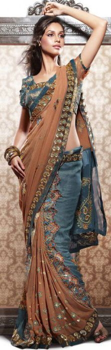 Brown & Dusty Blue Georgette Saree