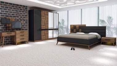 Karmini Ceviz Siyah Yatak Odası  | 4758,8 TL